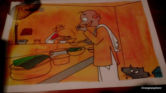 The table mat from Salgaokar Restaurant from Kozhikode, where I tasted prawn cooked in coconut cream and raw mango!