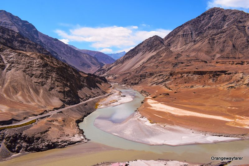 Zanskar river and Indus river confluence
