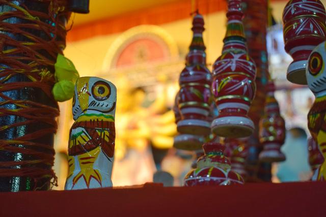 durga pandal with bengali decoration