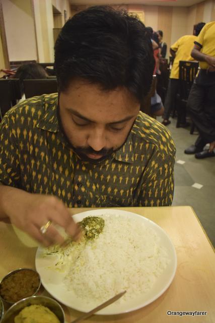 Rice and Bharta at the Kasturi restaurant Kolkata