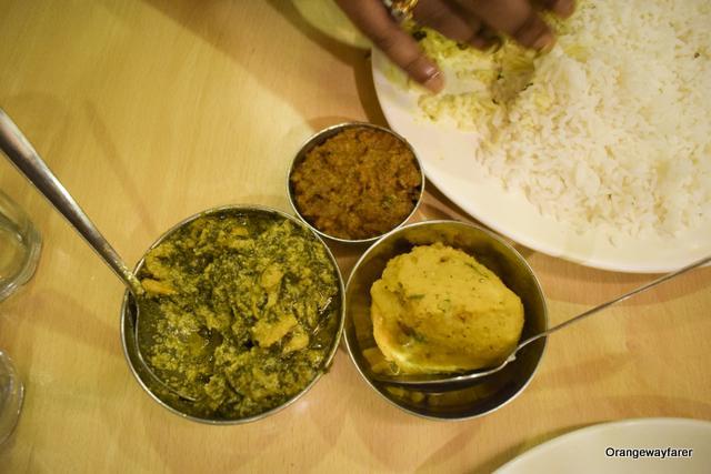 Chingri and Kochu pata bhorta in Kasturi restaurant in Kolkata