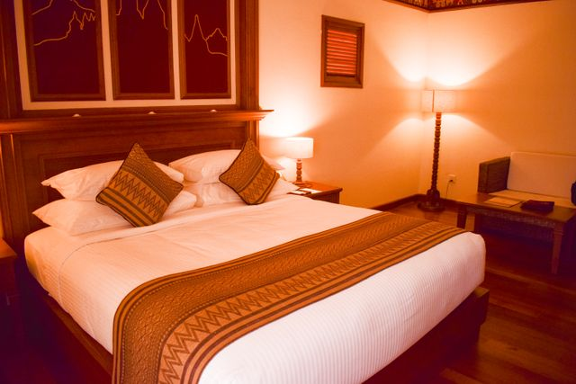 Beds in Heritage Bagan hotel