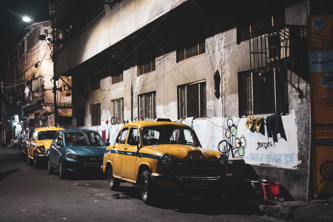 Yellow taxi in North Kolkata