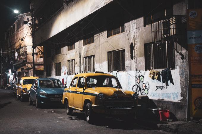 Yellow taxi in North Kolkata