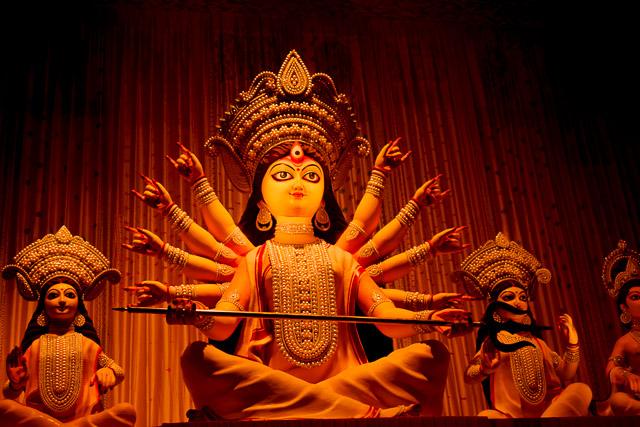 Maa durga idol: theme puja in behala
