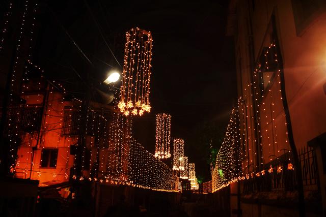 Light decoration on road during Durgapuja at behala player's corner: Saurav ganguly bari durgapuja