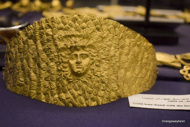 A headband made of pure gold and handcrafted, used by Eguptian Pherao Tutenkhamen and is on display at the Egyptian Museum