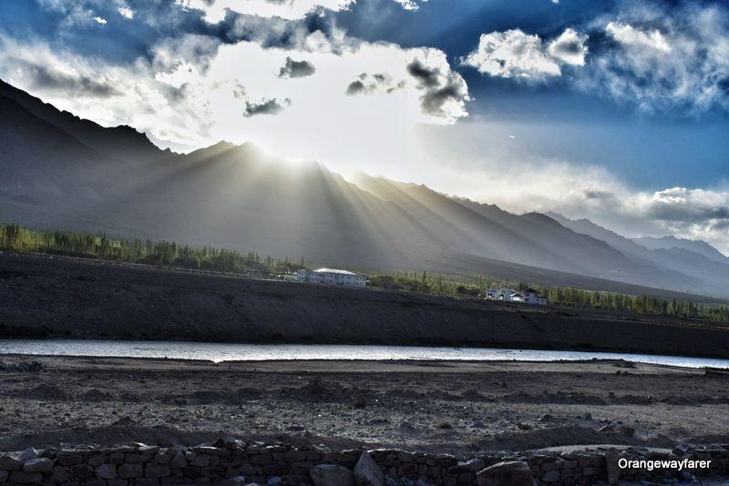 Sunset on Indus river Ladakh