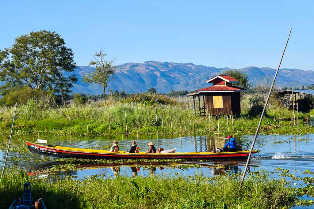 Traveling in Myanmar. Boating at Inle lake
