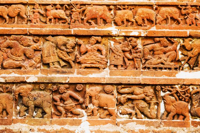 The preparation of a war... Terracotta temples, Bishnupur.