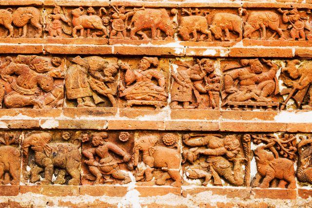 The preparation of a war... Terracotta temples, Bishnupur.