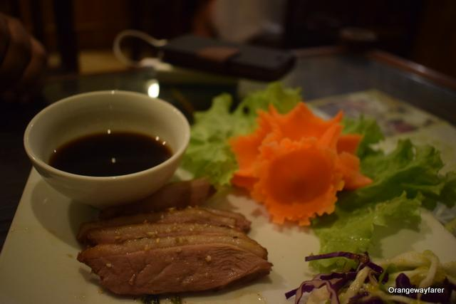 Duck fillet, simply grilled and served with Soy sauce dip: duck meat in Vietnam