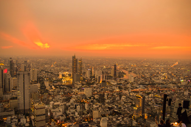 Sunset in bangkok. Viewed from Mahanakhon Skywalk