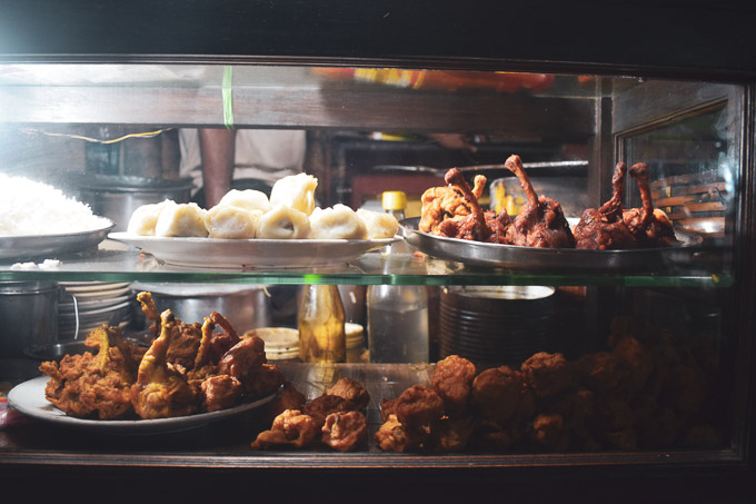 Chinese food at the street side stalls on Kolkata decker's Lane