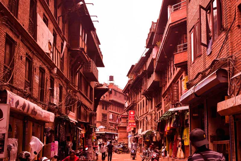 the Residential area of Bhaktapur ancient town in Nepal