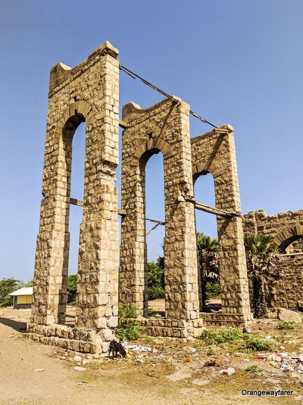 Dhanushkodi Railway station: ruins in Dhanushkodi