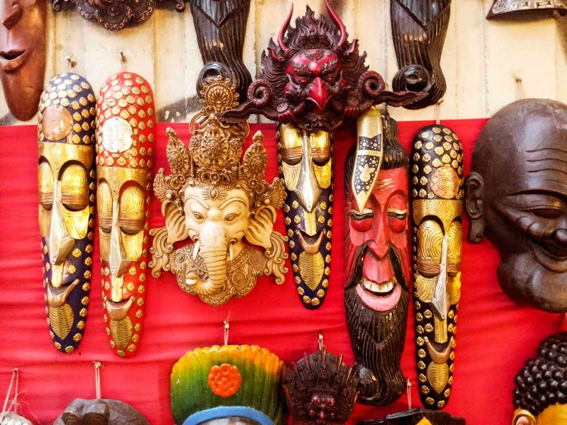Ganesh mask in Nepal. Tibetan masks in Nepal.