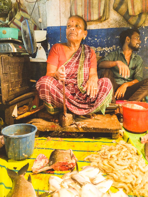 famous fish market in kolkata: a woman selling fish in Bakultala, Behala