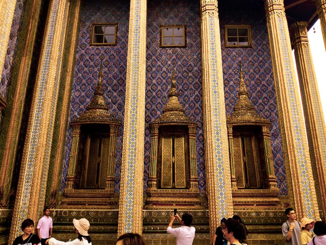 Blue Mosaic walls at Bangkok Grand Palace
