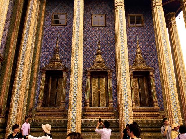 Blue Mosaic walls at Bangkok Grand Palace