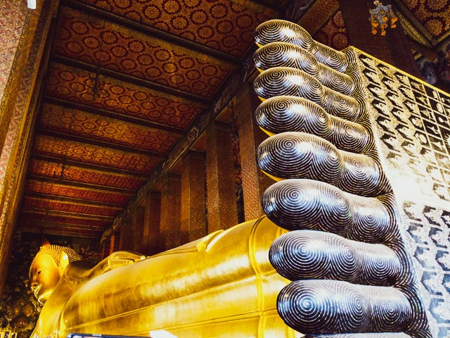 Wat Pho the reclining Buddha temple in Bangkok