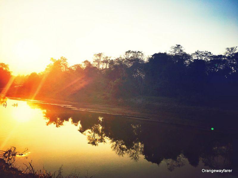 Sunset at Dhupli River kaziranga