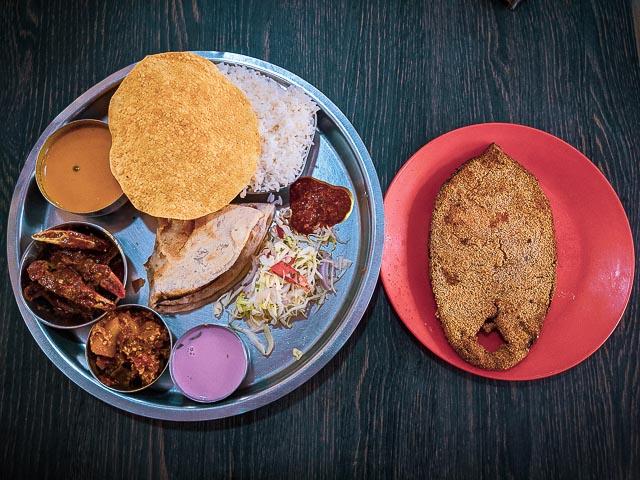 Konkani Thali in Goa. A Goa Fish Thali.  what to eat in Goa