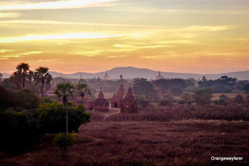 Sunset at bagan Myanmar from a secret temple