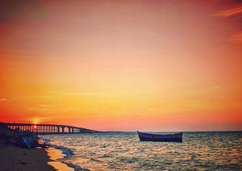 Rameswaram Pamban Bridge Sunset