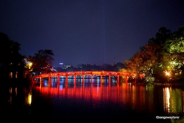 The famous bridge over Hoem Kiem Lake, Hanoi Old quarter
