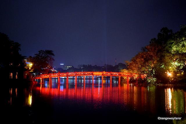 The famous bridge over Hoem Kiem Lake, Hanoi Old quarter