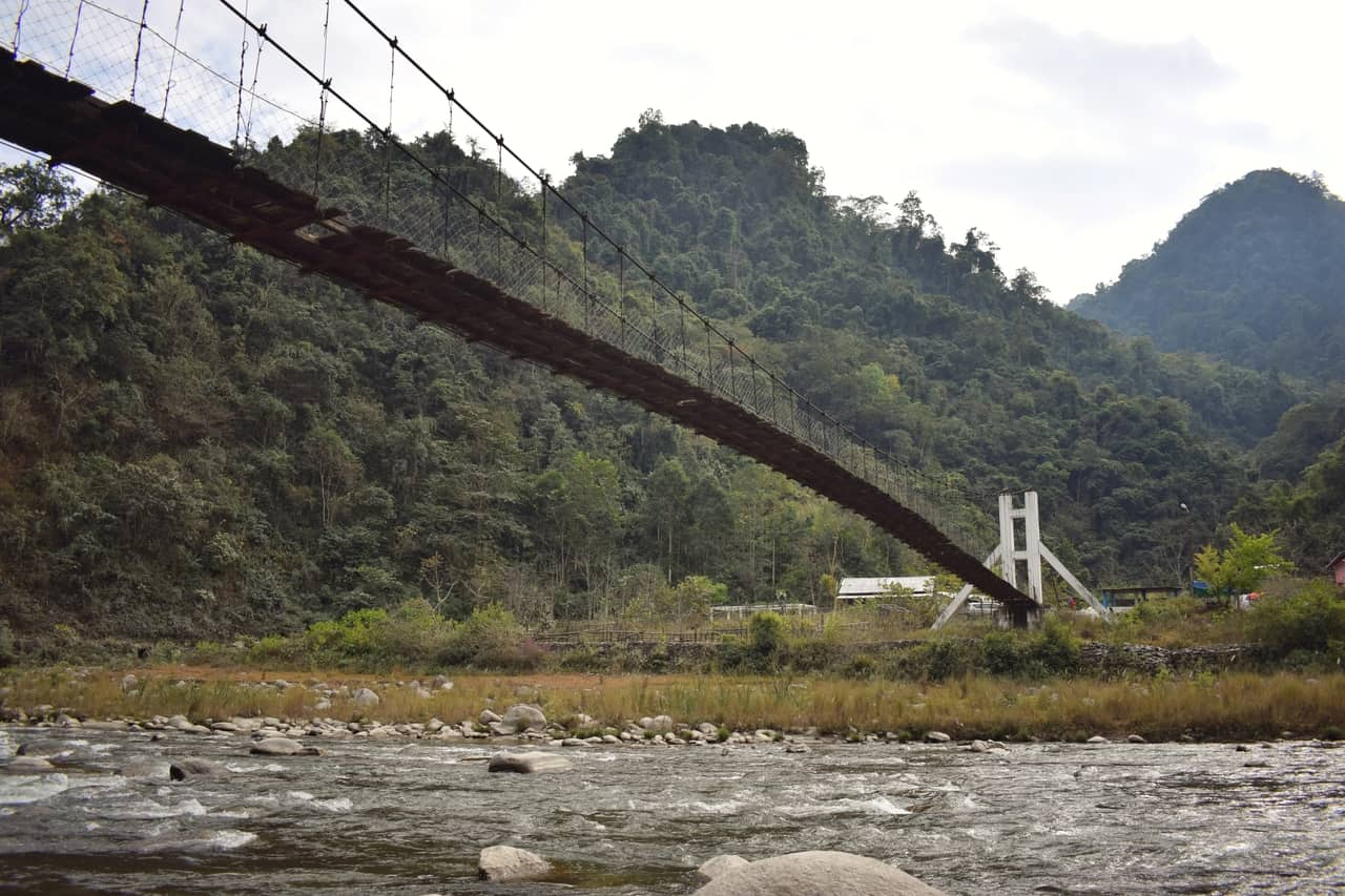 Jia Bharali river, Arunachal Pradesh, Rope bridge used by locals