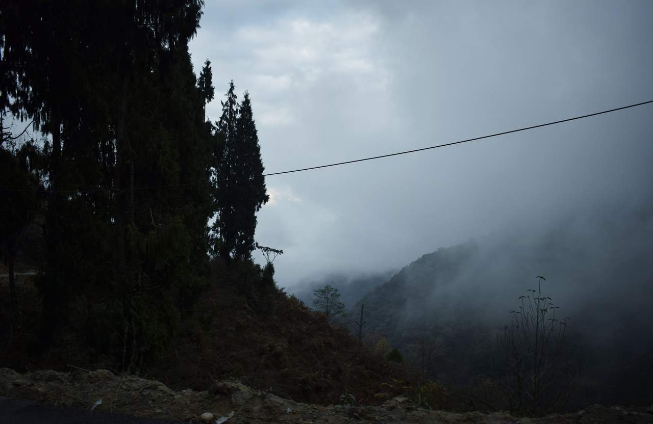 A road from Dirang to Tawang, covered with cloud