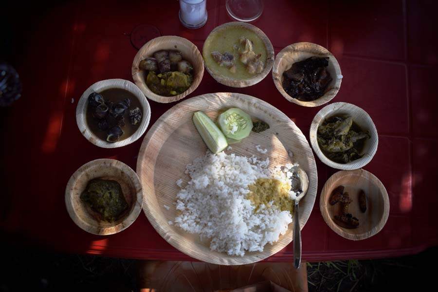 A sumptous Bodo Thali with authentic food from Bodo cuisine.