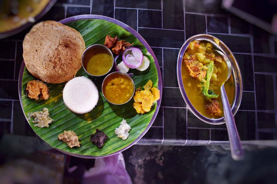 An assamese thali with duck meat at Seven sisters dhaba enroute Tawang from Guwahati