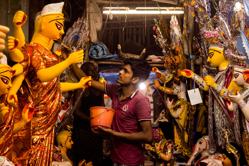The making of Durga Idol in Kumartuli Kolkata