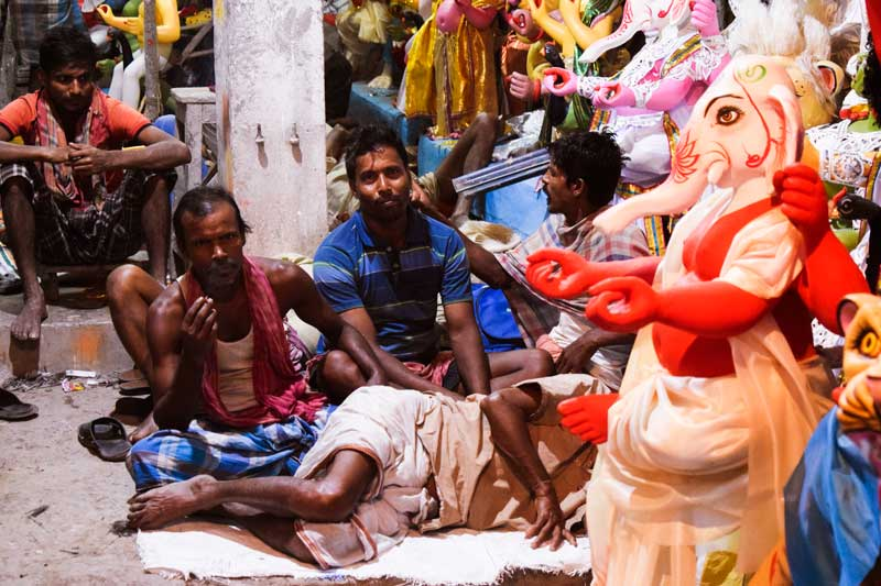 Durga Puja a photo blog: Ganesh murti in Kumartuli