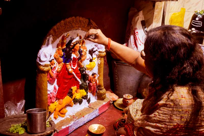 female artists of Kumartuli. females making Durga Idols