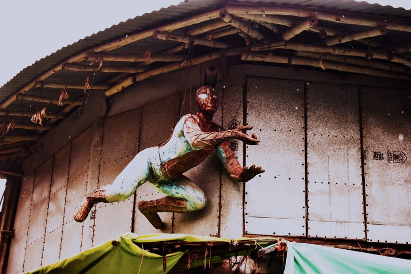 A spider man in Kolkata