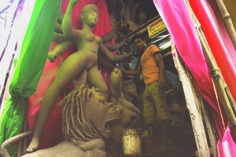 Kumartuli Durga Idol making process: Durga image at Kumartuli