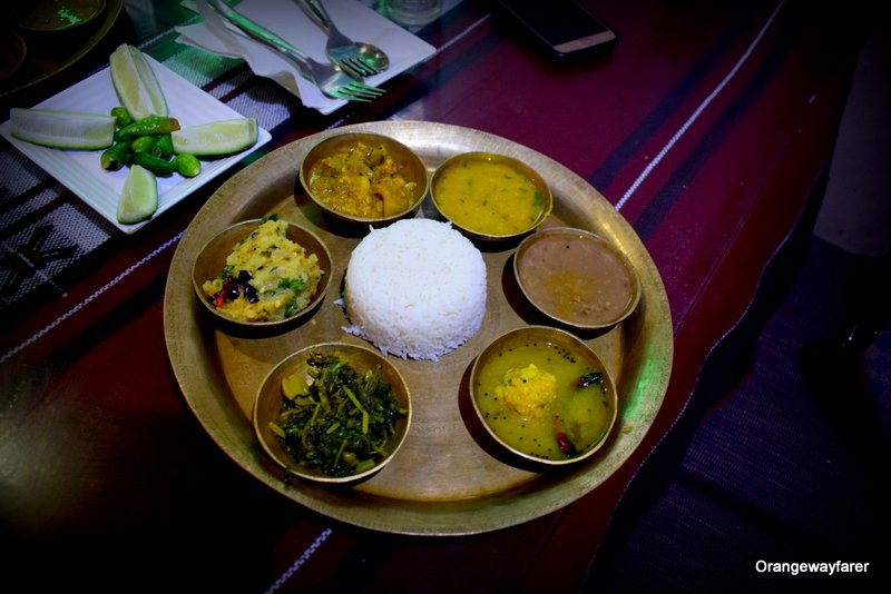 Assamese thali with Khar
