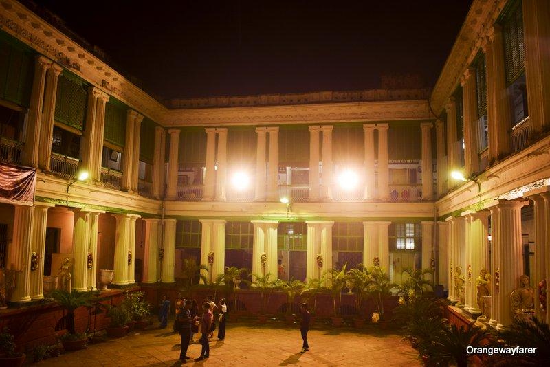 Bonedi barir durga puja 2019. Jamindar bari of North Kolkata. Interiors of Kolkata Bonedi bari