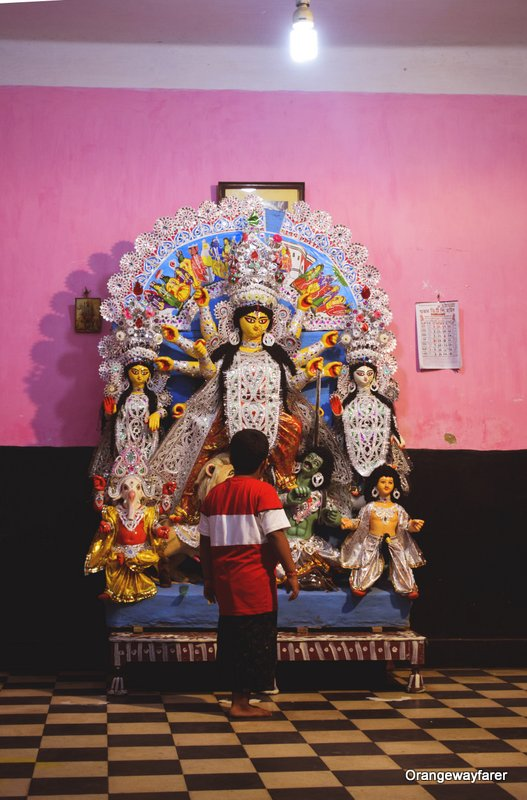 Bonedi barir durga puja at the north Kolkata lanes.