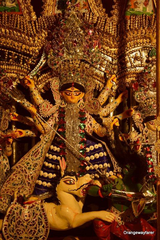Darjipara Mitra Bari durgapuja. Sabeki durgapuja ornaments.