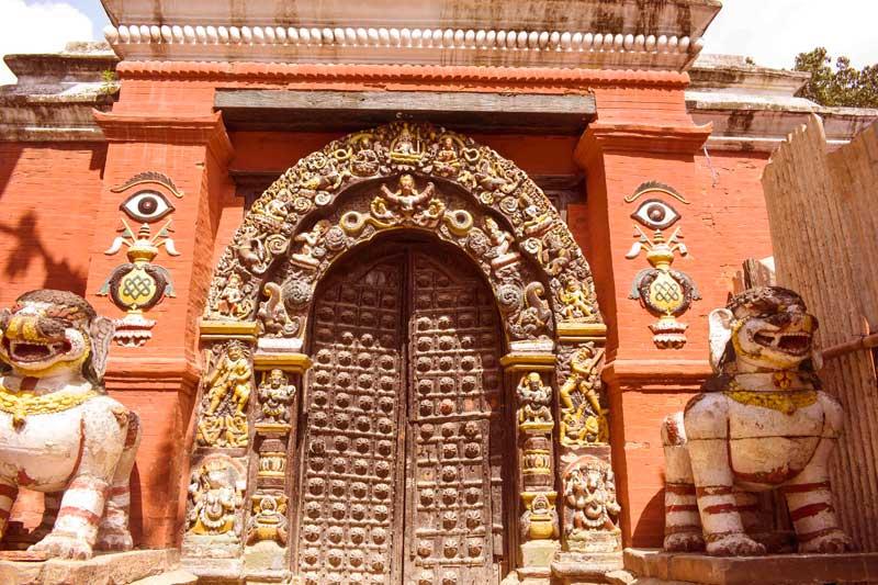 Beautiful traditional door in Nepal