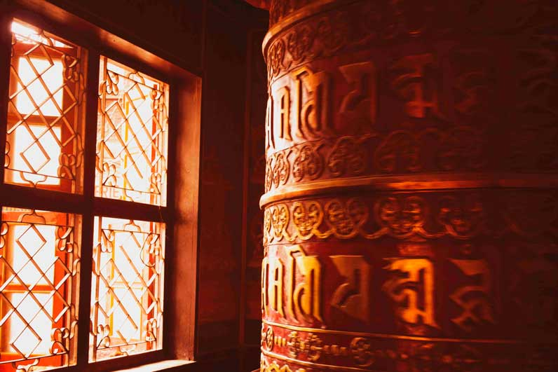 Boudha stupa and the giant prayer wheels