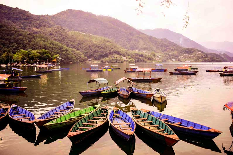 Colorful boats on Phewa lake Pokhara