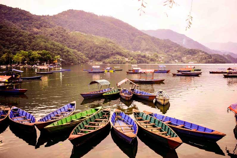 Colorful boats on Phewa lake Pokhara