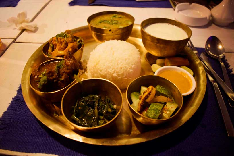 Nepalese thali with Mutton