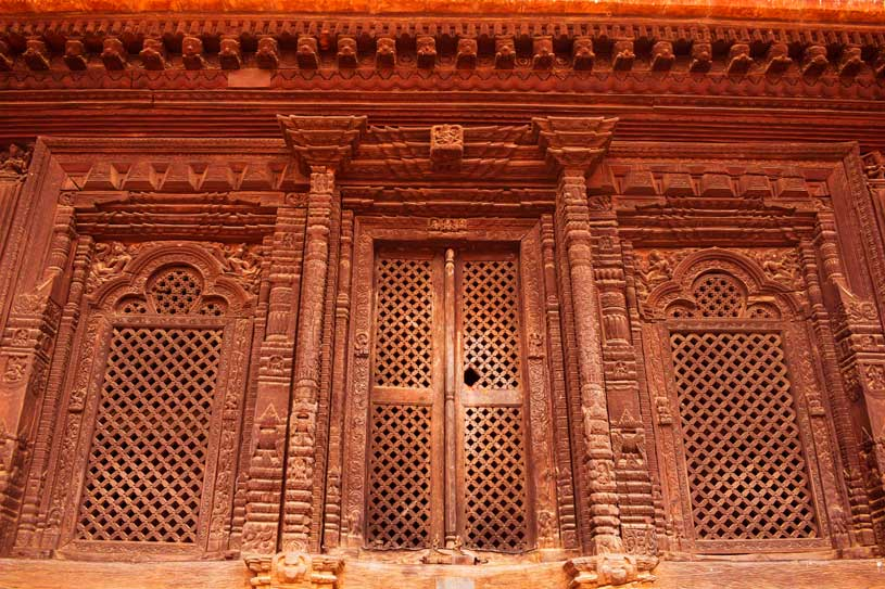 A traditional door at a Nepalese temple at Bhaktapur